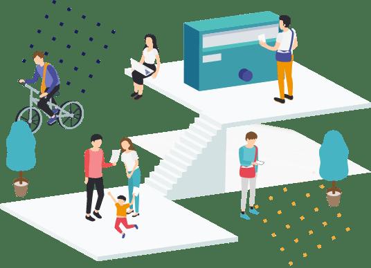 イラスト:ポスティングを行う人たちと受け取る人たち