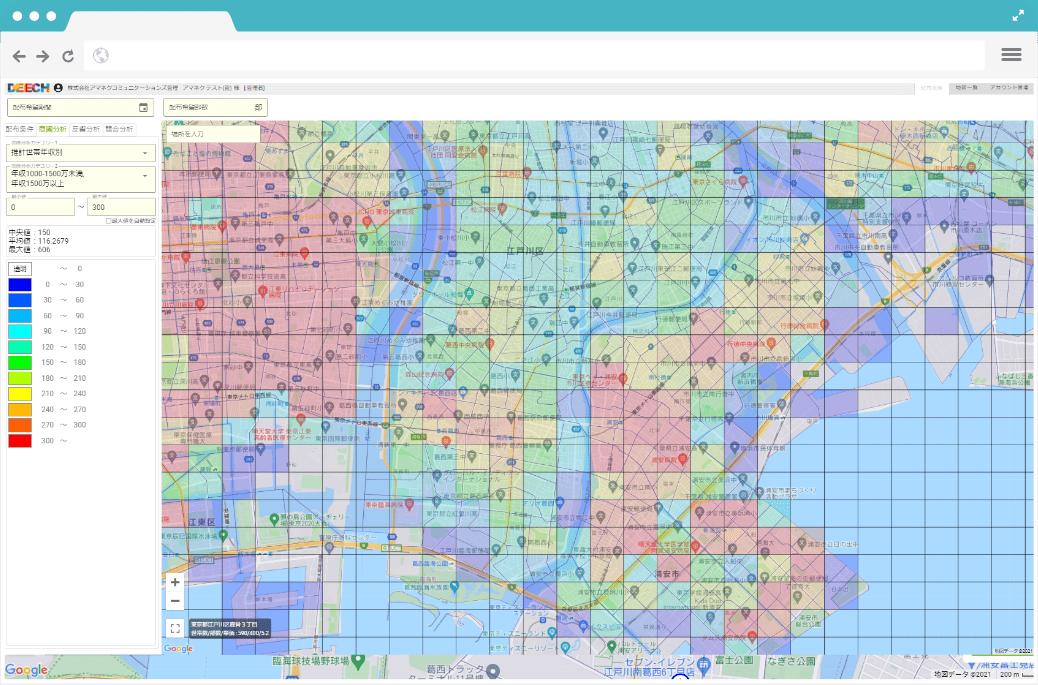 画像:商圏分析機能のスクリーンショット